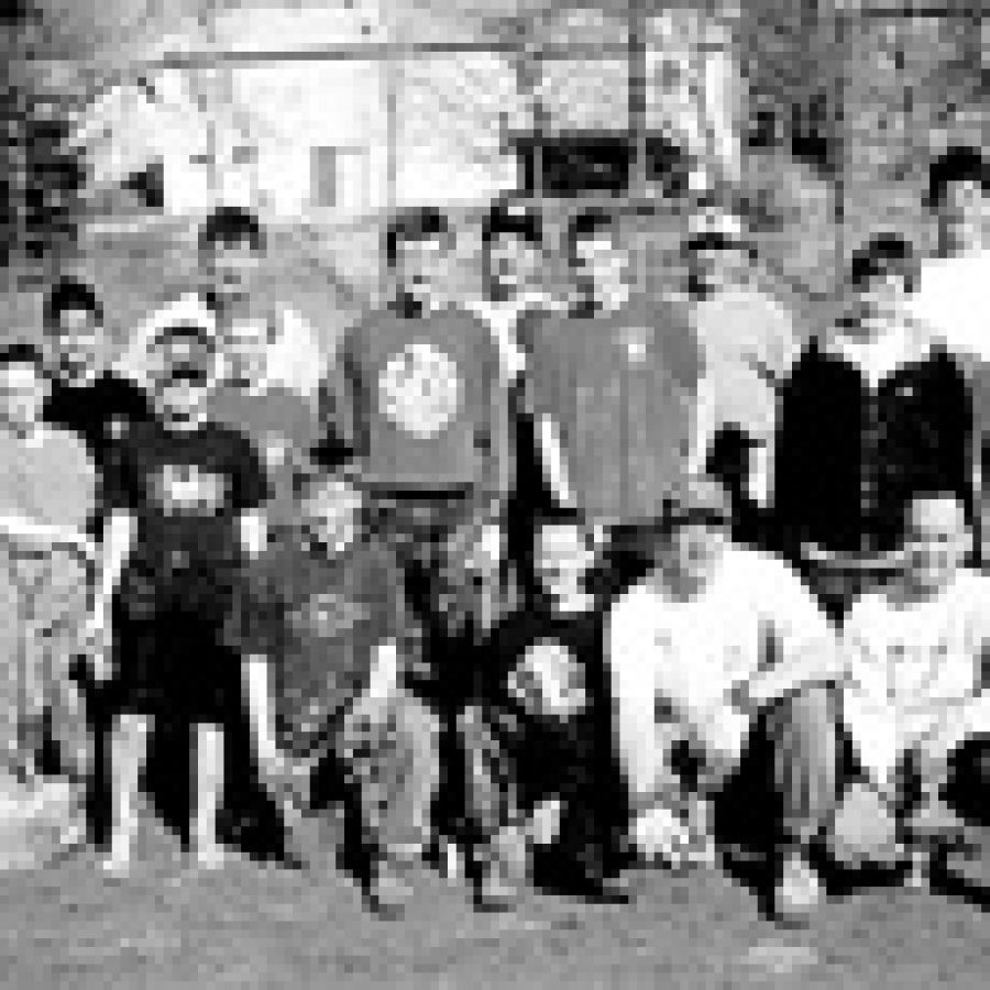 Volunteers assisting John Whitehead with his Eagle Scout project, back row, from left, are: Scoutmaster Vern Schaeperkoetter, Carl Brielmaier, Steve Straw-hun, Bill Whitehead, Tony Strawhun and Chuck Enger. Middle row, from left, are: Gloria Roth, Zack Chinea, Greg Winkeler, Andrew Schaeperkoetter, John White-head, Chris Enger and Matt Brielmaier. Front row, from left, are: Justin Roth, Andy Beckman, Kurt Hammann, John Mohler, Ryan Shaw, Matt Schaeperkoet-ter, Bob Shaw, Paul Cejas,and Nick Cejas. Not pictured are: Charmaine Chinea, Nathan Roth, Bob Kuhlmann, Fred Busch and Nathan Busch.