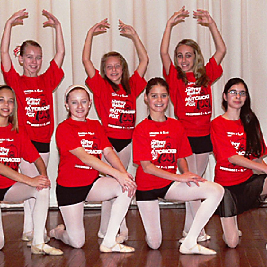 Among the local performers in 'Nutcracker at the Fox,' front row, from left, are: Amanda Nichting, Heather Marlena Brown, Samantha Mungle and Paige VanNest. Back row, from left, are: Kristine Pickens, Emma Miller and Olivia Botonis. Unavailable for the photograph were Linnéa Buchholz, Sarah Marcotte, Liz Chlanda and Skylar Coleman.
