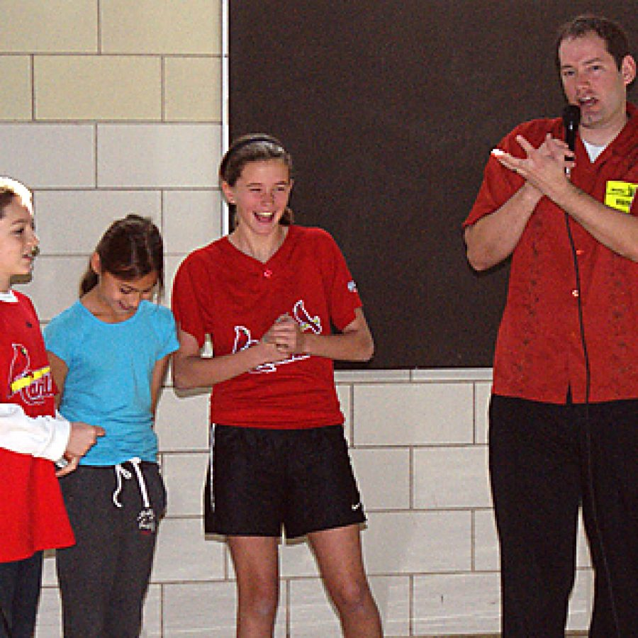 New York Times bestselling author Brandon Mull, right, best known for his Fablehaven series of fantasy books, stressed to Blades Elementary third, fourth and fifth grade students this week the importance of growing and using their imagination by reading books and participating in creative activities.