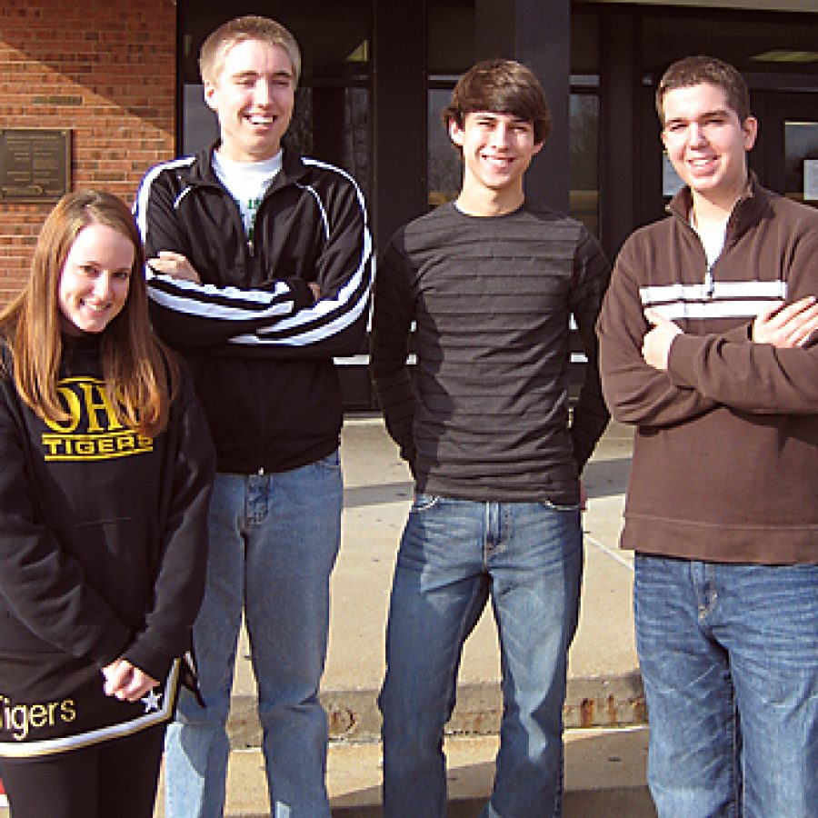 The work of Oakville High seniors, from left, Amy Albritton, Steven Trebus, Joel Berntsen and Jason Metropoulos earned awards at the Journalism Education Association's Fall National High School Journalism Convention. Also receiving awards were senior Katie Kennedy and junior Evyn Johnson, not pictured.