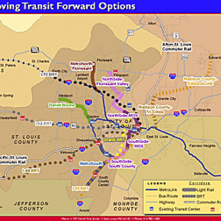 The Metro transit agency's long-range vision for public transportation includes light-rail, rapid-bus and commuter rail options for the St. Louis area. Image from Metro presentation