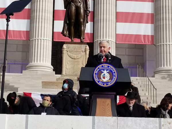 Missouri Gov. Mike Parson addresses the crowd gathered outside the state Capitol for his inauguration on Jan. 11, 2021 (Rudi Keller/Missouri Independent).