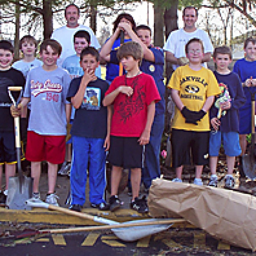 Scouts beautify grounds at Point Elementary
