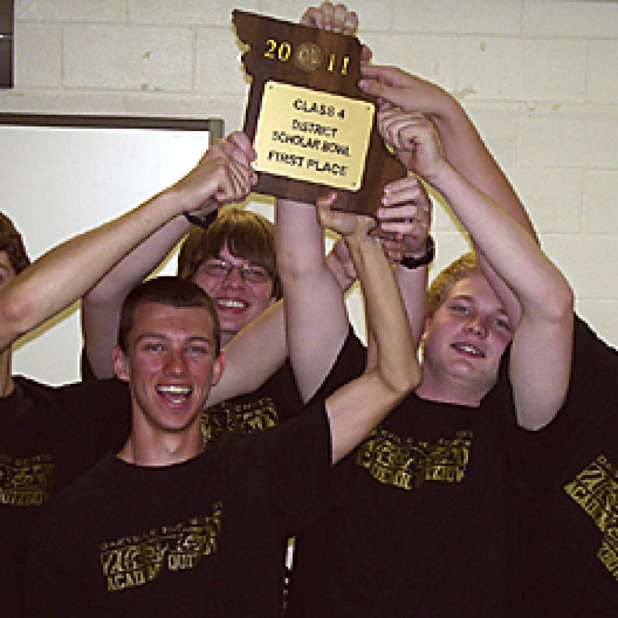The five members of the Oakville Senior High School Academic Quiz Bowl Team, from left, senior Justin Bayer, senior Mark Richter, junior Brandon Daake, freshman Andrew Ludwig and freshman Mark Menkhus, went undefeated at the District competition held on April 9, winning each of their five rounds at the competition. Richter and Daake also won individual medals at the event for placing second and fourth, respectively.