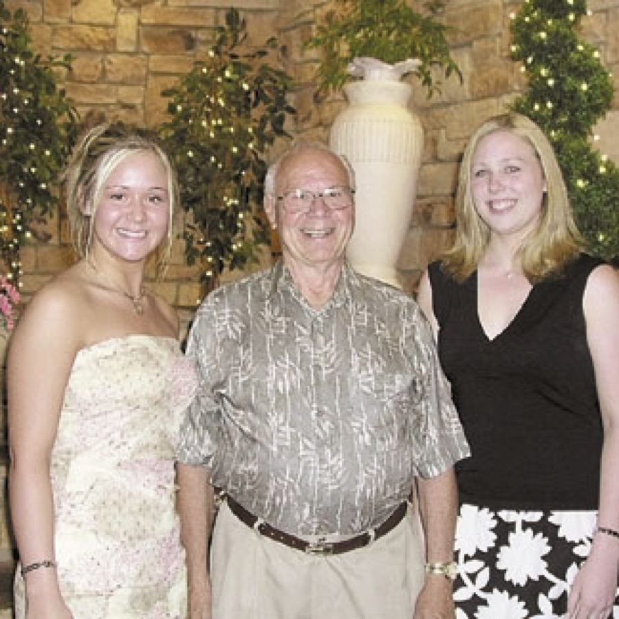 The two recipients of scholarships presented by the Mehlville Retired Educa-tors are shown with Marvin Todtenhaupt, immediate past president of the organization. Pictured, from left, are: Casey Hoffmann, Todtenhaupt and Laura Lauten-schlager.