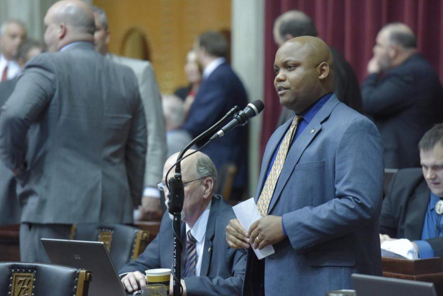 State Rep. Shamed Dogan speaks on the Missouri House floor (photo courtesy of Tim Bommel/House Communications).