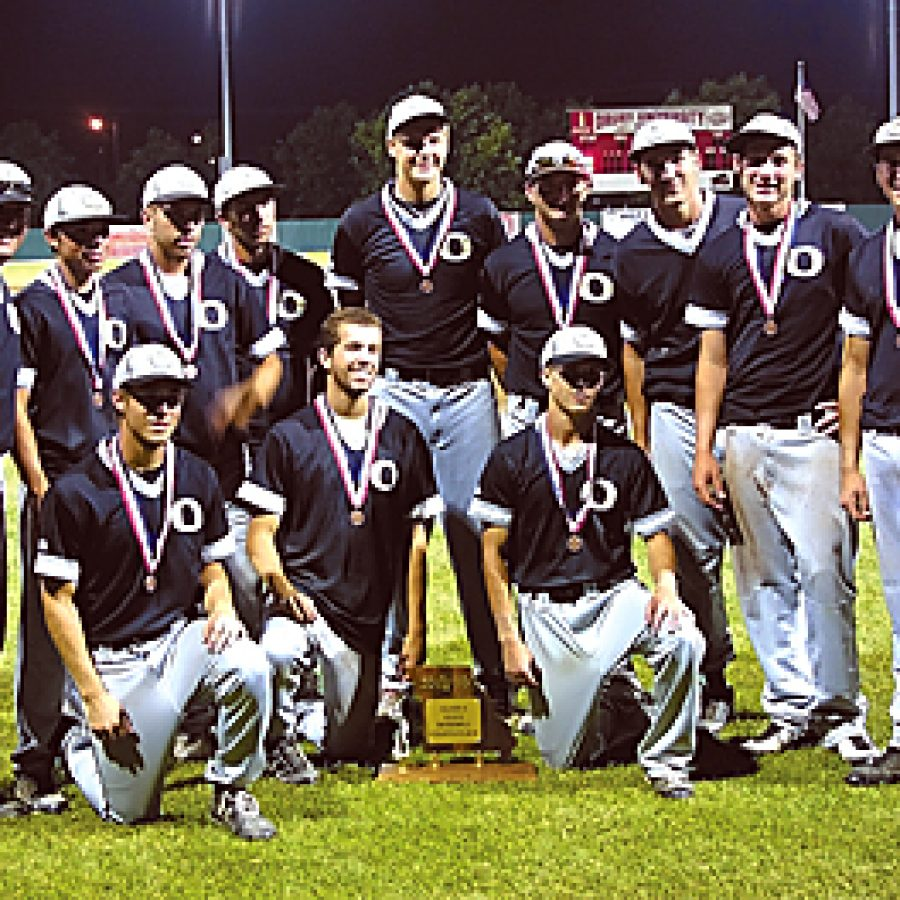 The senior class of Oakville High School's baseball team is shown with its fourth-place state trophy Saturday night after finishing a 22-9 season. Team members surprised everyone but themselves this season after graduating 15 seniors from last year's squad, including nine starters. 'That Oakville organization is a class act,' said Webb City Head Coach Shawn Mayes after playing the Tigers Friday evening.