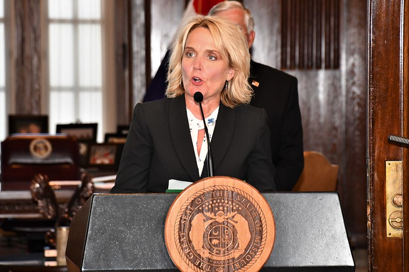 Commissioner+of+Education+Margie+Vandeven+speaks+at+a+July+2020+press+conference+%28photo+courtesy+of+the+Missouri+Governor%27s+Office%29.